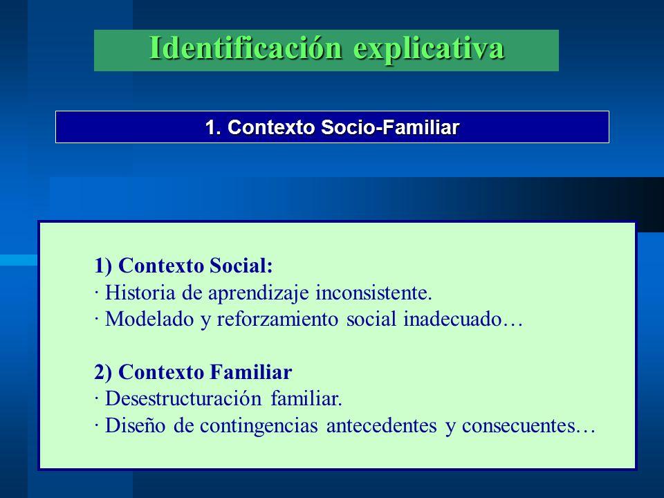 Identificación explicativa 1. Contexto Socio-Familiar 1) Contexto Social: · Historia de aprendizaje inconsistente. · Modelado y reforzamiento social i