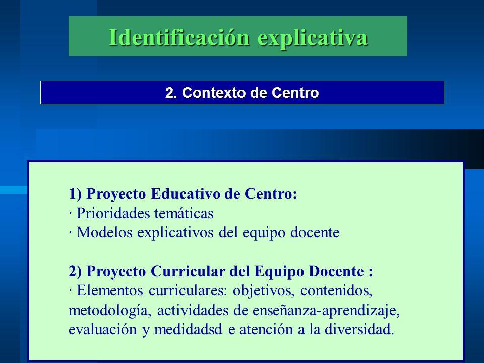 Identificación explicativa 2. Contexto de Centro 1) Proyecto Educativo de Centro: · Prioridades temáticas · Modelos explicativos del equipo docente 2)