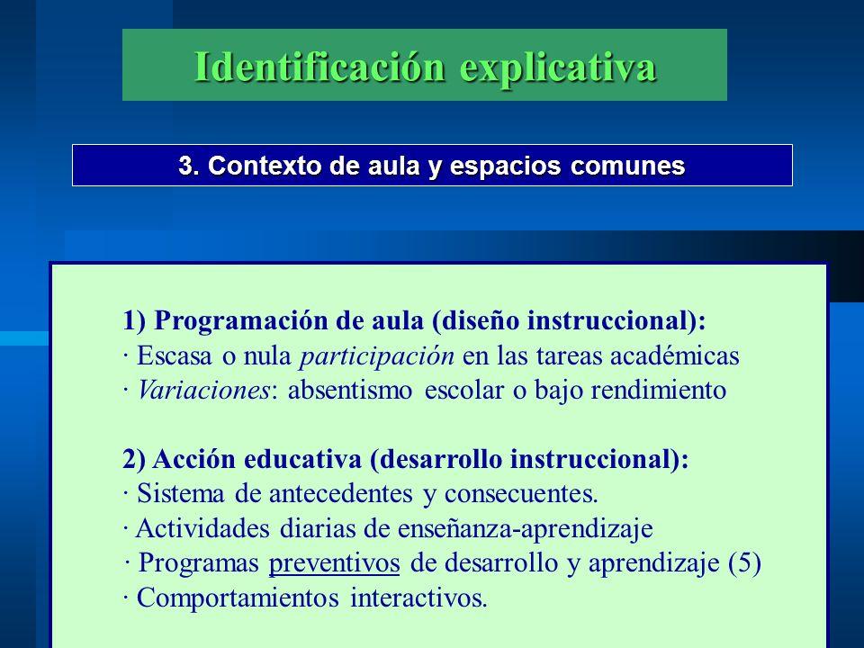 Identificación explicativa 3. Contexto de aula y espacios comunes 1) Programación de aula (diseño instruccional): · Escasa o nula participación en las