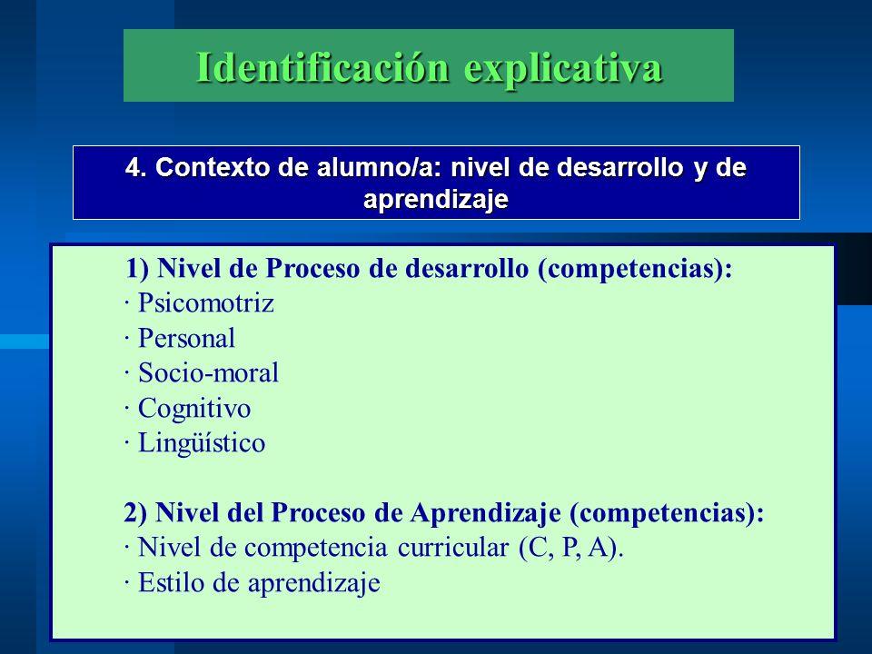 Identificación explicativa 4. Contexto de alumno/a: nivel de desarrollo y de aprendizaje 1) Nivel de Proceso de desarrollo (competencias): · Psicomotr
