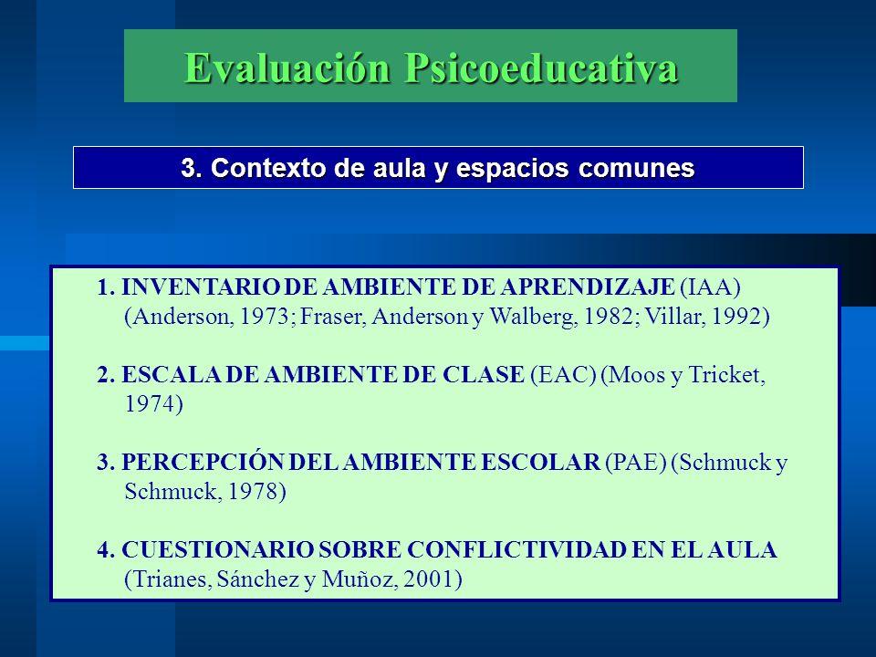 Evaluación Psicoeducativa 3. Contexto de aula y espacios comunes 1. INVENTARIO DE AMBIENTE DE APRENDIZAJE (IAA) (Anderson, 1973; Fraser, Anderson y Wa