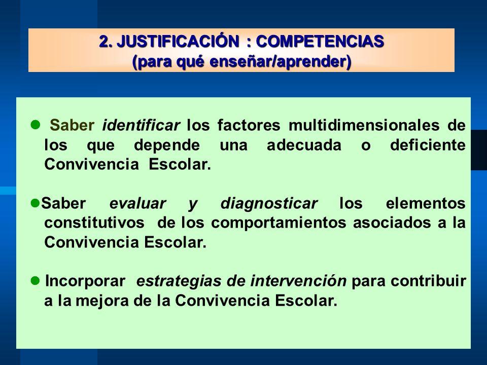 2. JUSTIFICACIÓN : COMPETENCIAS (para qué enseñar/aprender) Saber identificar los factores multidimensionales de los que depende una adecuada o defici