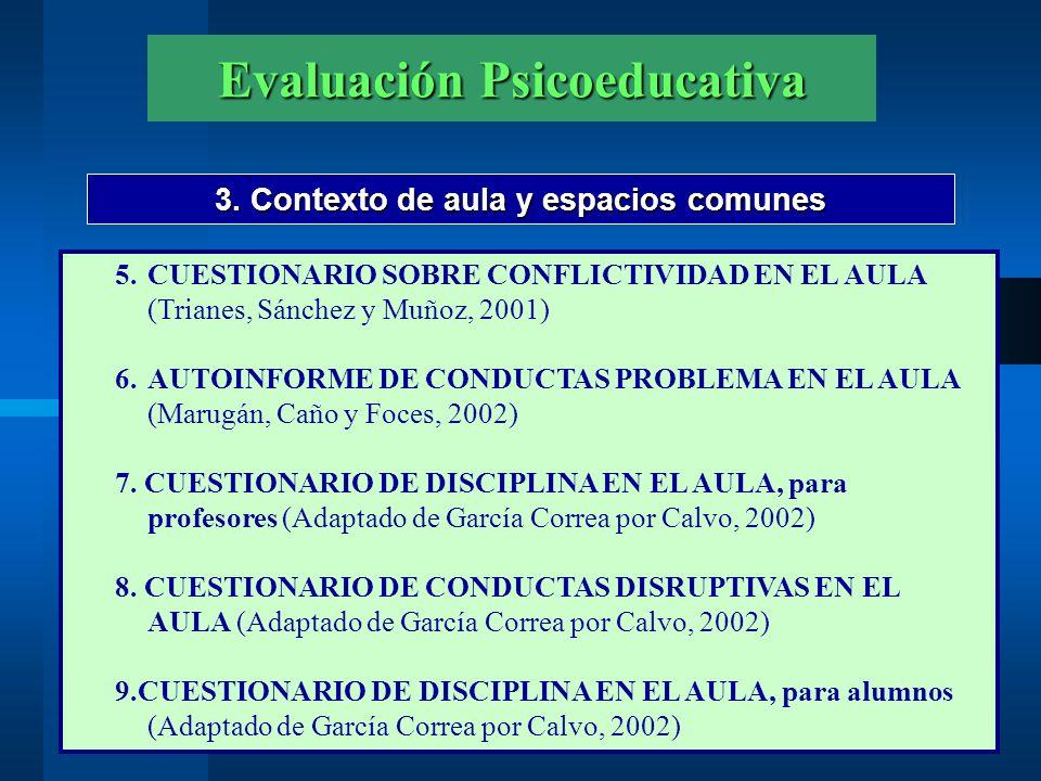 Evaluación Psicoeducativa 3. Contexto de aula y espacios comunes 5.CUESTIONARIO SOBRE CONFLICTIVIDAD EN EL AULA (Trianes, Sánchez y Muñoz, 2001) 6.AUT