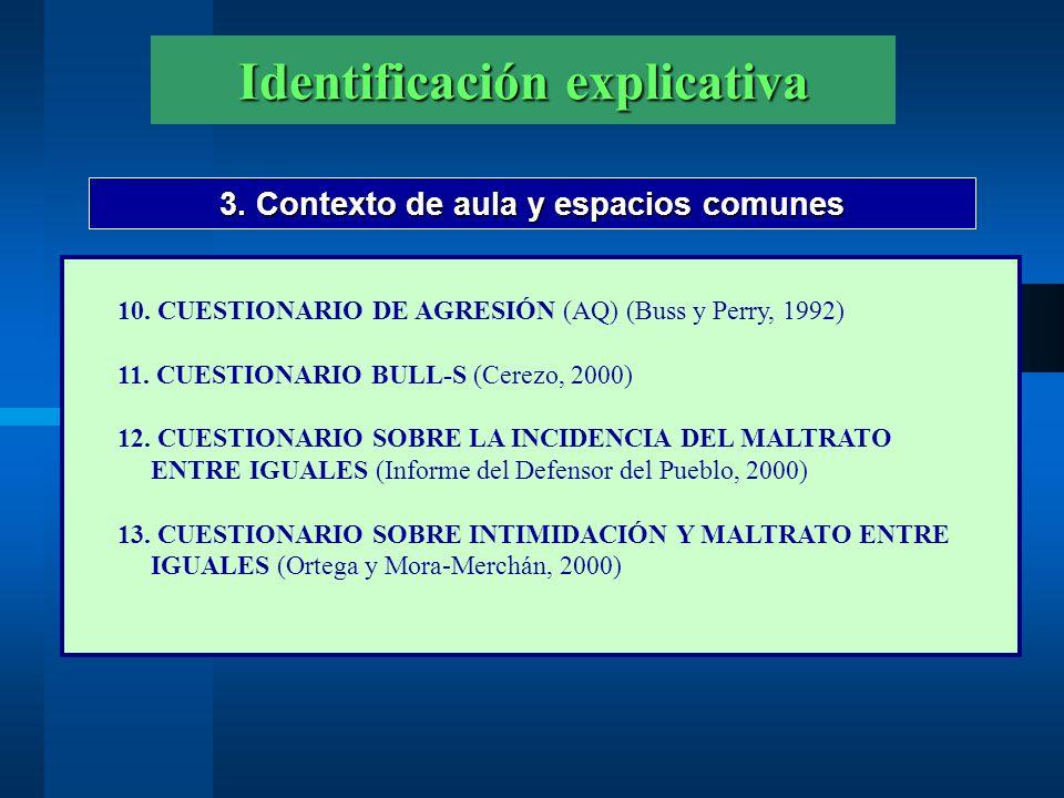 Identificación explicativa 3. Contexto de aula y espacios comunes 10. CUESTIONARIO DE AGRESIÓN (AQ) (Buss y Perry, 1992) 11. CUESTIONARIO BULL-S (Cere
