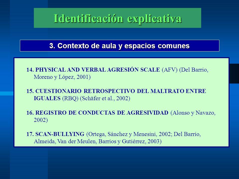 Identificación explicativa 3. Contexto de aula y espacios comunes 14. PHYSICAL AND VERBAL AGRESIÓN SCALE (AFV) (Del Barrio, Moreno y López, 2001) 15.