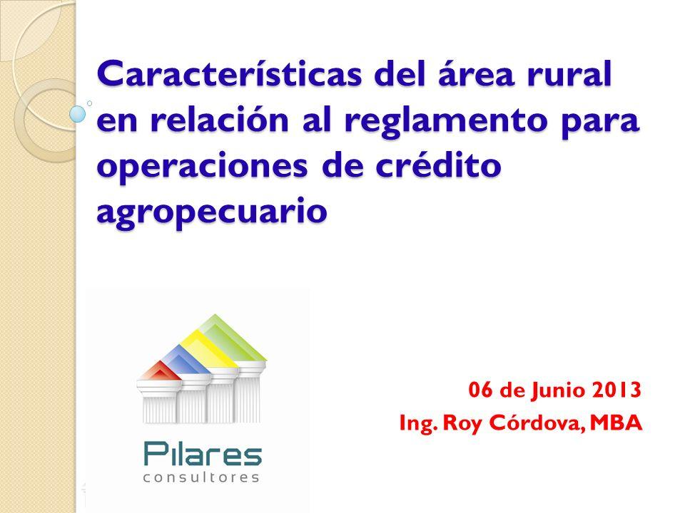 Características del área rural en relación al reglamento para operaciones de crédito agropecuario 06 de Junio 2013 Ing. Roy Córdova, MBA