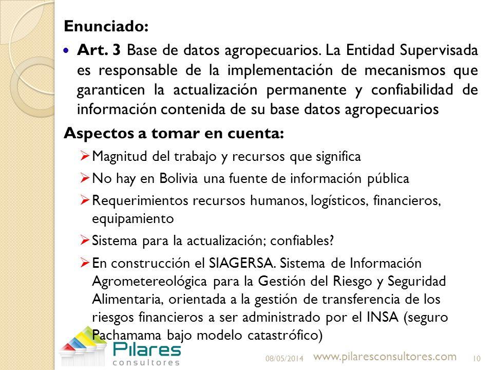 Enunciado: Art. 3 Base de datos agropecuarios. La Entidad Supervisada es responsable de la implementación de mecanismos que garanticen la actualizació