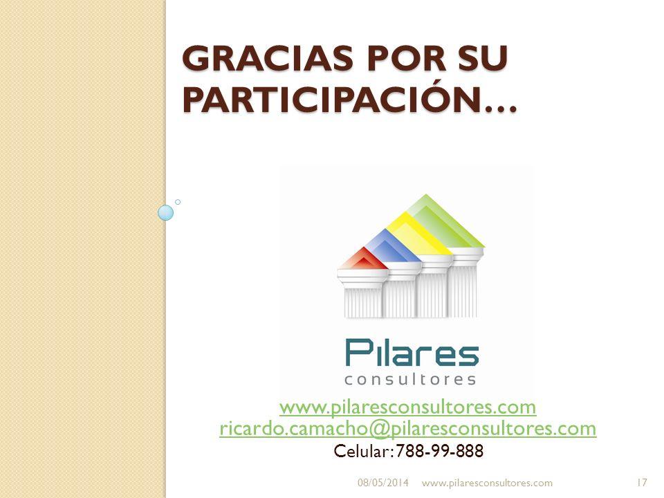 GRACIAS POR SU PARTICIPACIÓN… www.pilaresconsultores.com ricardo.camacho@pilaresconsultores.com Celular: 788-99-888 08/05/2014www.pilaresconsultores.c