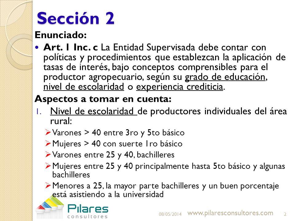 Sección 2 Enunciado: Art. 1 Inc. c La Entidad Supervisada debe contar con políticas y procedimientos que establezcan la aplicación de tasas de interés