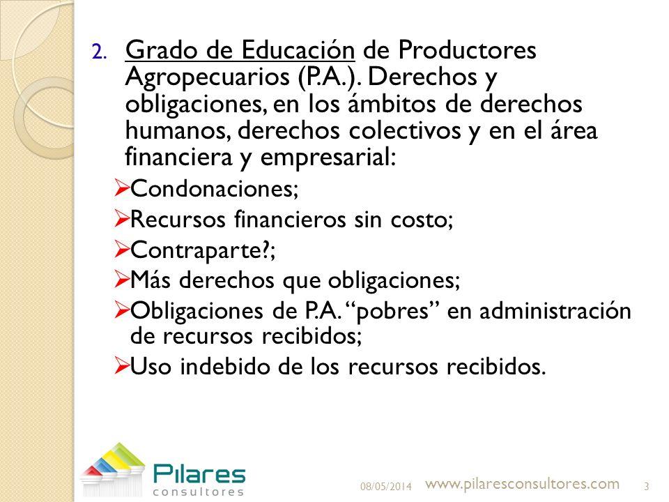 2. Grado de Educación de Productores Agropecuarios (P.A.). Derechos y obligaciones, en los ámbitos de derechos humanos, derechos colectivos y en el ár