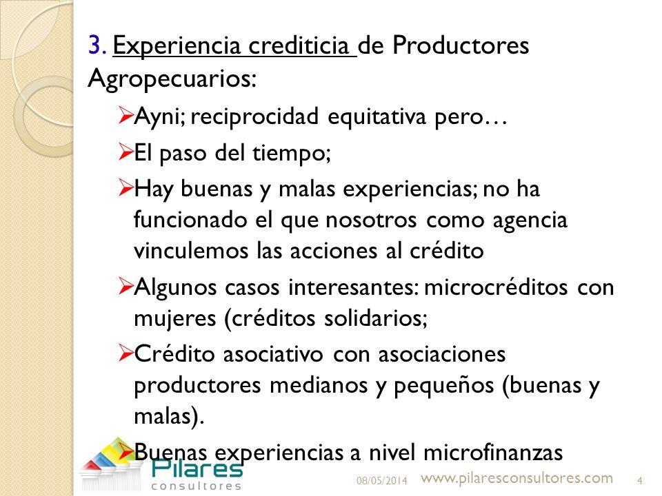 3.Experiencia crediticia de Productores Agropecuarios: Ayni; reciprocidad equitativa pero… El paso del tiempo; Hay buenas y malas experiencias; no ha