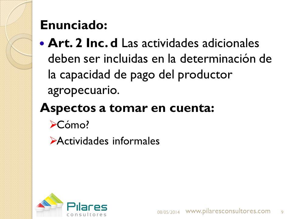 Enunciado: Art. 2 Inc. d Las actividades adicionales deben ser incluidas en la determinación de la capacidad de pago del productor agropecuario. Aspec