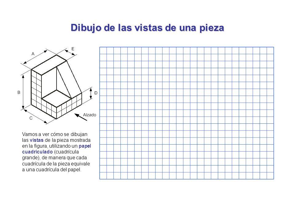 Dibujo de las vistas de una pieza Vamos a ver cómo se dibujan las vistas de la pieza mostrada en la figura, utilizando un papel cuadriculado (cuadrícu