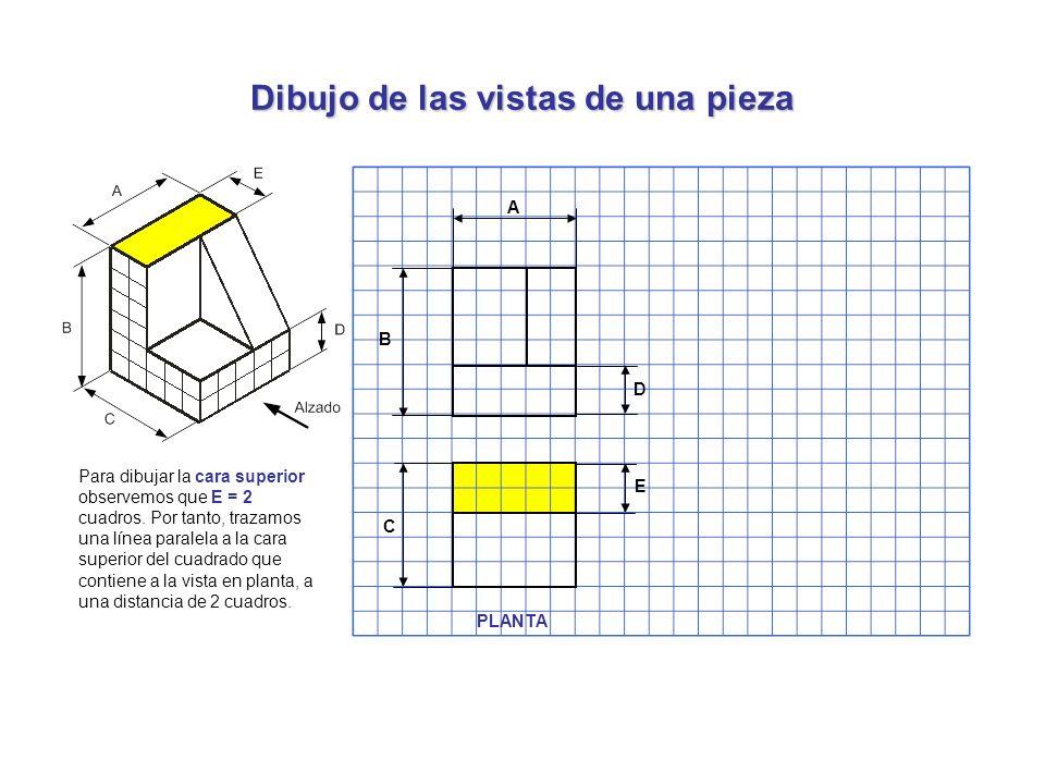 Dibujo de las vistas de una pieza Para dibujar la cara superior observemos que E = 2 cuadros. Por tanto, trazamos una línea paralela a la cara superio