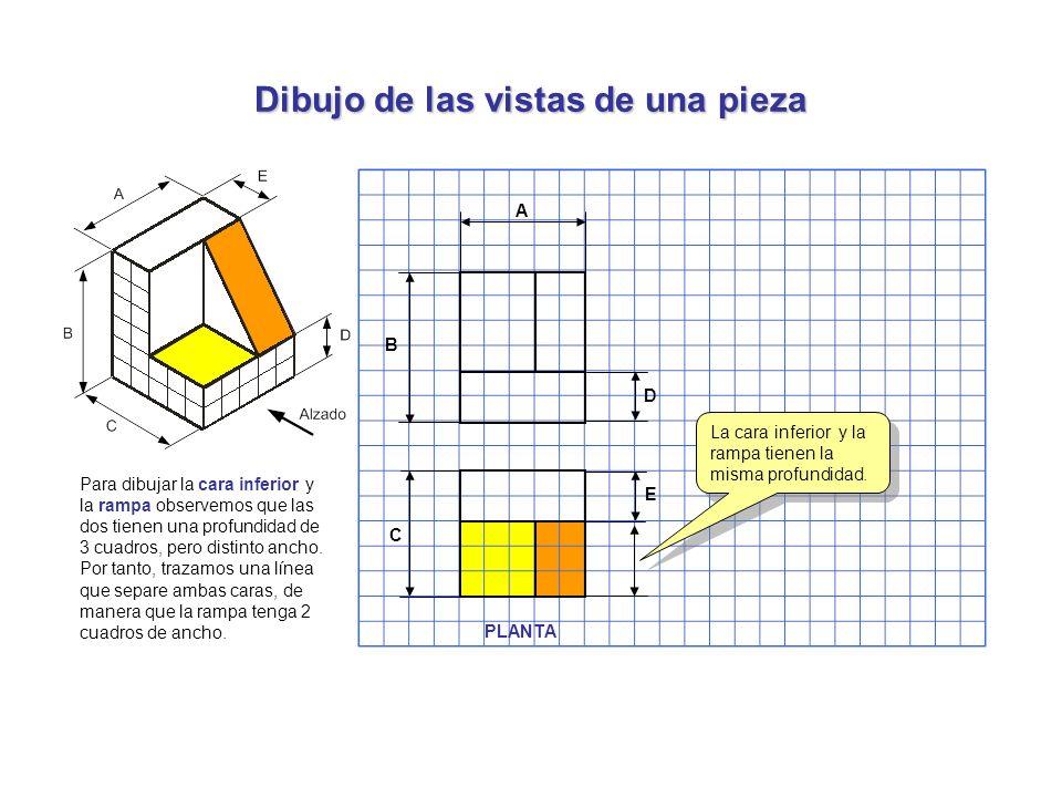 Dibujo de las vistas de una pieza Para dibujar la cara inferior y la rampa observemos que las dos tienen una profundidad de 3 cuadros, pero distinto a