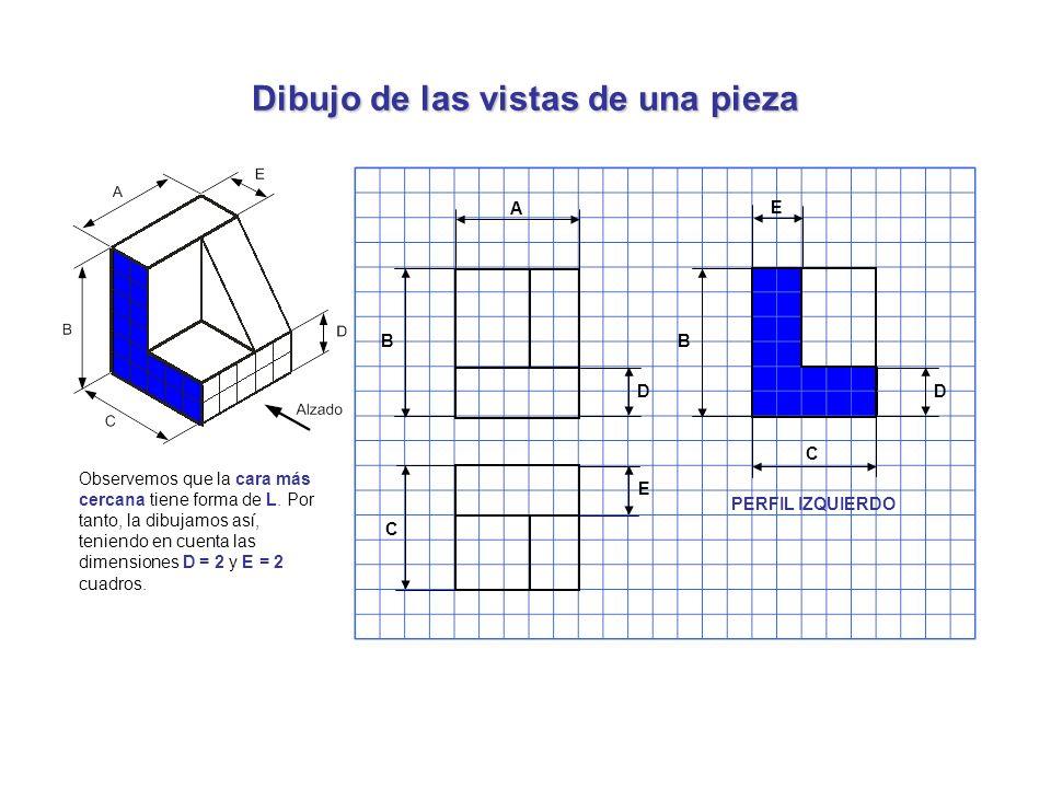 Dibujo de las vistas de una pieza Observemos que la cara más cercana tiene forma de L. Por tanto, la dibujamos así, teniendo en cuenta las dimensiones
