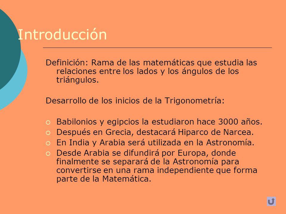 Índice Introducción Babilonios y egipcios Grecia, con Hiparco de Nicea Tolomeo India Astrónomos árabes Occidente Occidente (continuación) Conceptos principales Catetos Funciones Trigonométricas 1 Funciones Trigonométricas 2 Tangente y cotangente Ejercicios