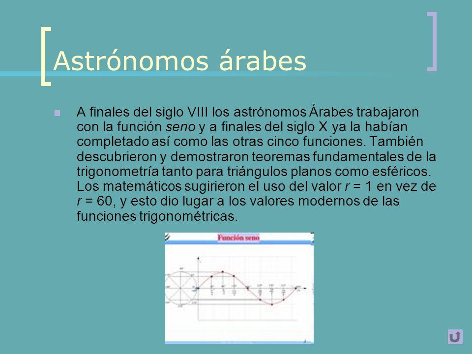 India Al mismo tiempo, los astrónomos de la India habían desarrollado también un sistema trigonométrico basado en la función seno en vez de cuerdas como los griegos.
