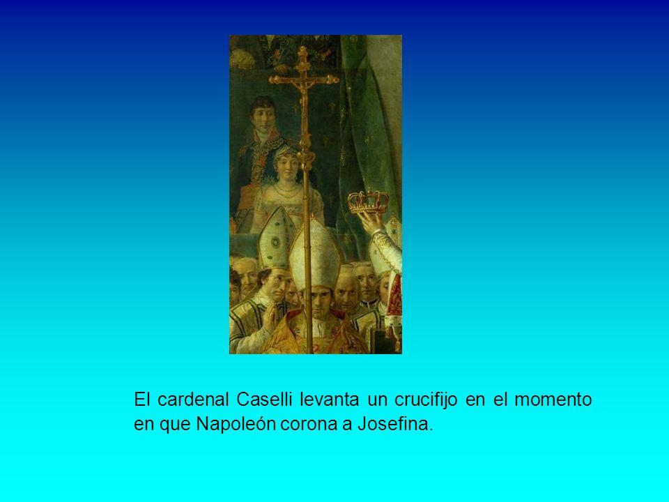 El Papa y los cardenales Sentado y haciendo un gesto de bendición aparece el Papa Pío VII. A su derecha están los cardenales Caprara y Brasche y el ab