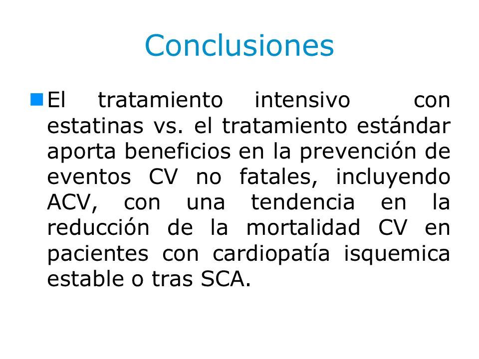 Conclusiones El tratamiento intensivo con estatinas vs. el tratamiento estándar aporta beneficios en la prevención de eventos CV no fatales, incluyend