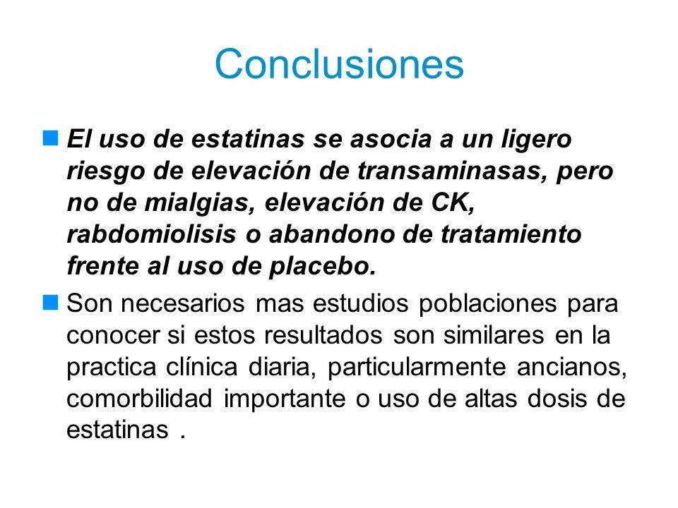 Conclusiones El uso de estatinas se asocia a un ligero riesgo de elevación de transaminasas, pero no de mialgias, elevación de CK, rabdomiolisis o aba