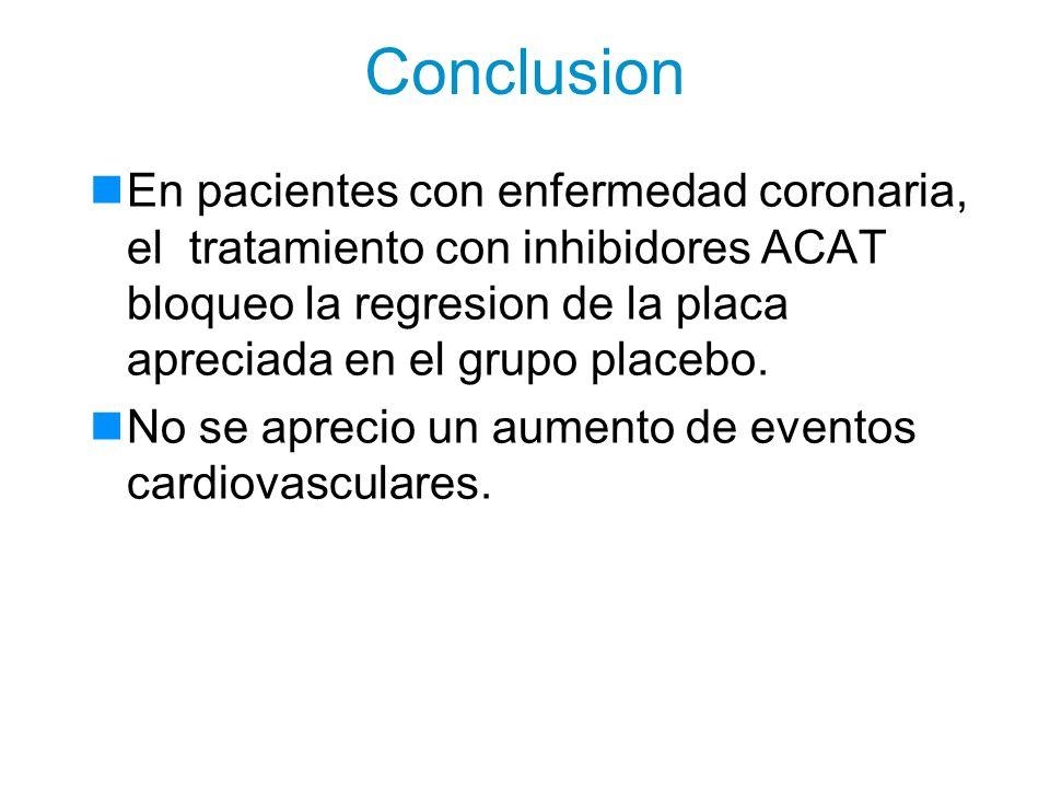 Conclusion En pacientes con enfermedad coronaria, el tratamiento con inhibidores ACAT bloqueo la regresion de la placa apreciada en el grupo placebo.