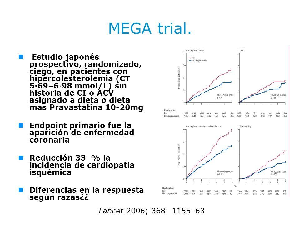 MEGA trial. Estudio japonés prospectivo, randomizado, ciego, en pacientes con hipercolesterolemia (CT 5·69–6·98 mmol/L) sin historia de CI o ACV asign