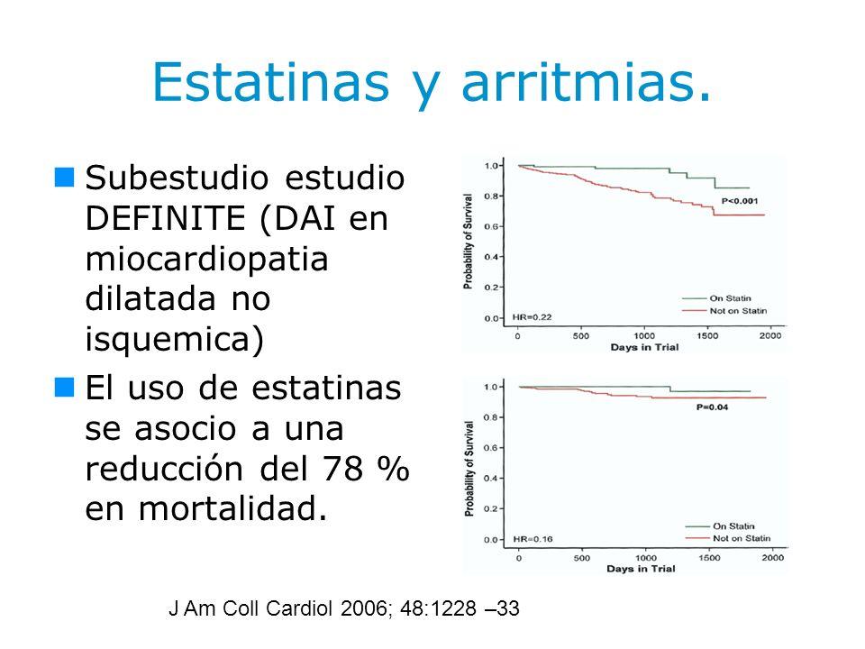 Estatinas y arritmias. Subestudio estudio DEFINITE (DAI en miocardiopatia dilatada no isquemica) El uso de estatinas se asocio a una reducción del 78