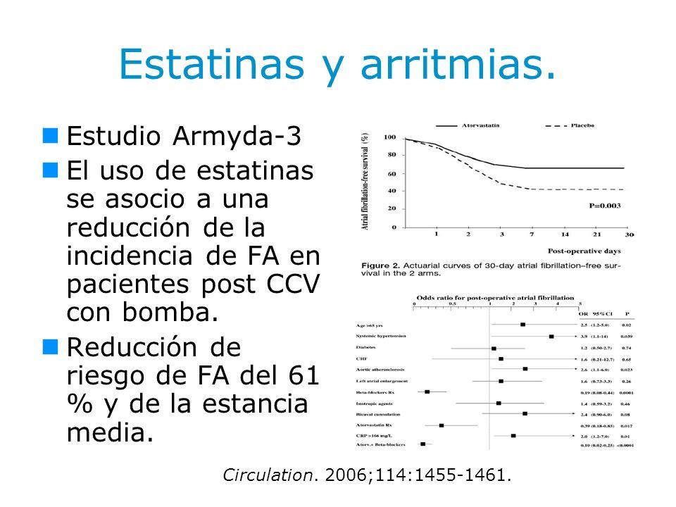 Estatinas y arritmias. Estudio Armyda-3 El uso de estatinas se asocio a una reducción de la incidencia de FA en pacientes post CCV con bomba. Reducció