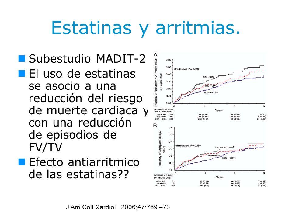 Estatinas y arritmias. Subestudio MADIT-2 El uso de estatinas se asocio a una reducción del riesgo de muerte cardiaca y con una reducción de episodios