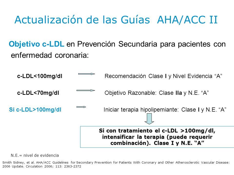 Objetivo c-LDL en Prevención Secundaria para pacientes con enfermedad coronaria: c-LDL<100mg/dl Recomendación Clase I y Nivel Evidencia A c-LDL<70mg/d