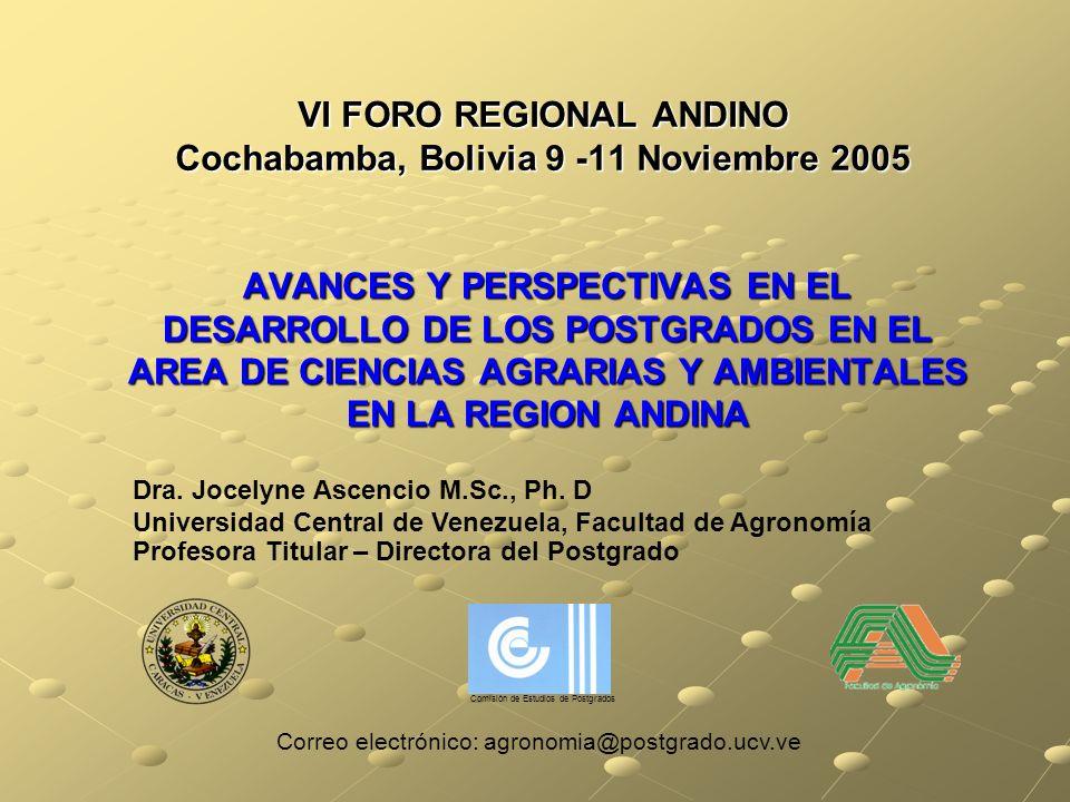 VI FORO REGIONAL ANDINO Cochabamba, Bolivia 9 -11 Noviembre 2005 AVANCES Y PERSPECTIVAS EN EL DESARROLLO DE LOS POSTGRADOS EN EL AREA DE CIENCIAS AGRARIAS Y AMBIENTALES EN LA REGION ANDINA Dra.