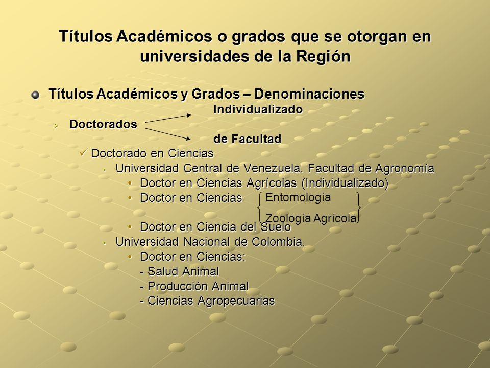 Títulos Académicos o grados que se otorgan en universidades de la Región Títulos Académicos y Grados – Denominaciones Individualizado Individualizado Doctorados Doctorados de Facultad de Facultad Doctorado en Ciencias Doctorado en Ciencias Universidad Central de Venezuela.