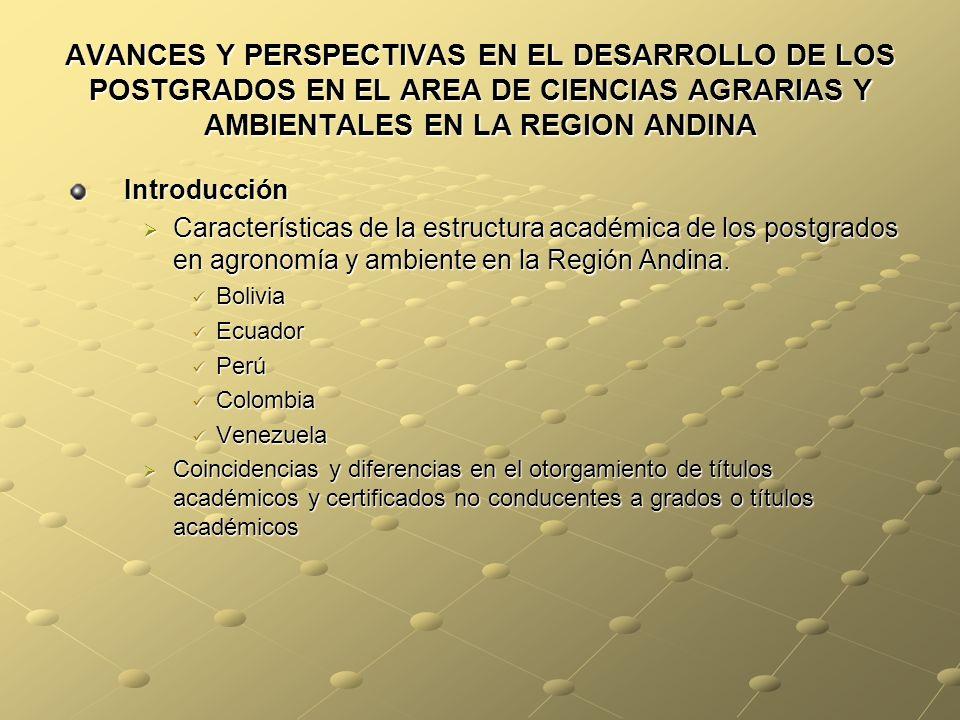 AVANCES Y PERSPECTIVAS EN EL DESARROLLO DE LOS POSTGRADOS EN EL AREA DE CIENCIAS AGRARIAS Y AMBIENTALES EN LA REGION ANDINA Introducción Características de la estructura académica de los postgrados en agronomía y ambiente en la Región Andina.