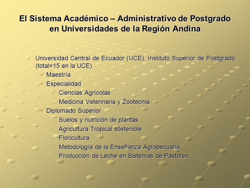 El Sistema Académico – Administrativo de Postgrado en Universidades de la Región Andina Universidad Central de Ecuador (UCE).