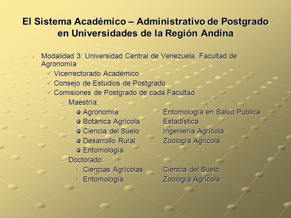 El Sistema Académico – Administrativo de Postgrado en Universidades de la Región Andina Modalidad 3: Universidad Central de Venezuela.