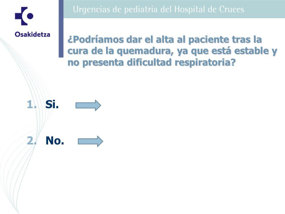 ¿Podríamos dar el alta al paciente tras la cura de la quemadura, ya que está estable y no presenta dificultad respiratoria? 1.Si. 2.No.