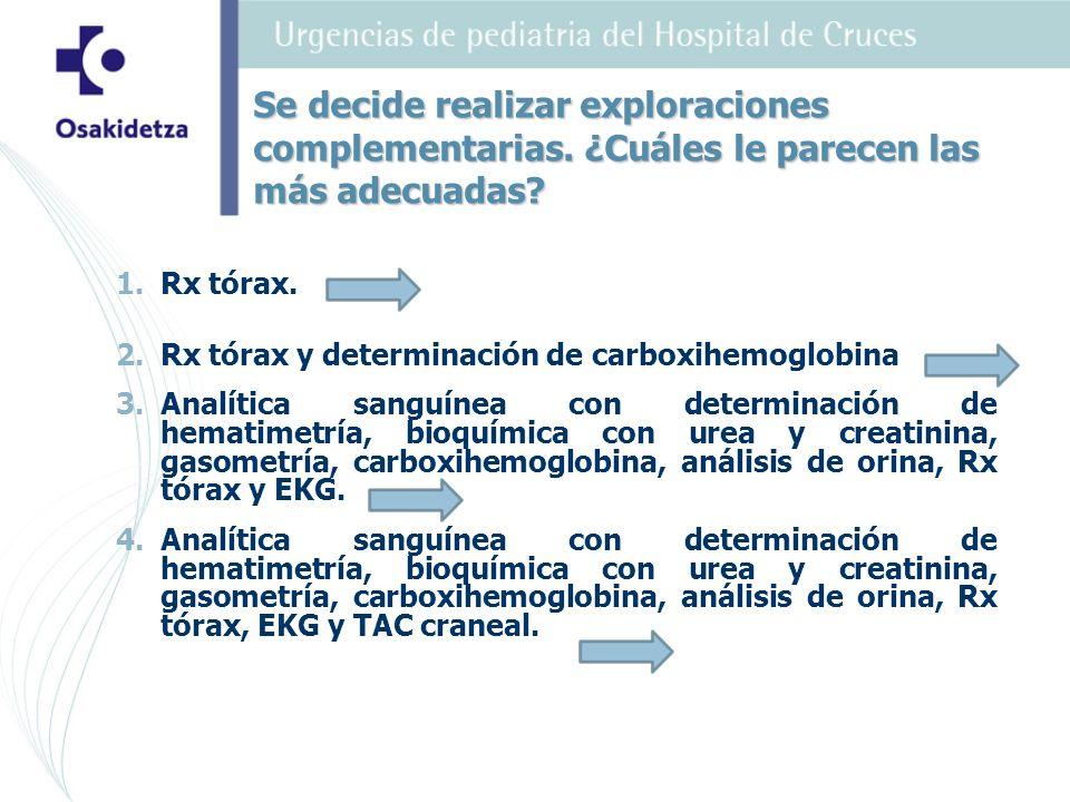 1. 1.Rx tórax. 2. 2.Rx tórax y determinación de carboxihemoglobina 3. 3.Analítica sanguínea con determinación de hematimetría, bioquímica con urea y c