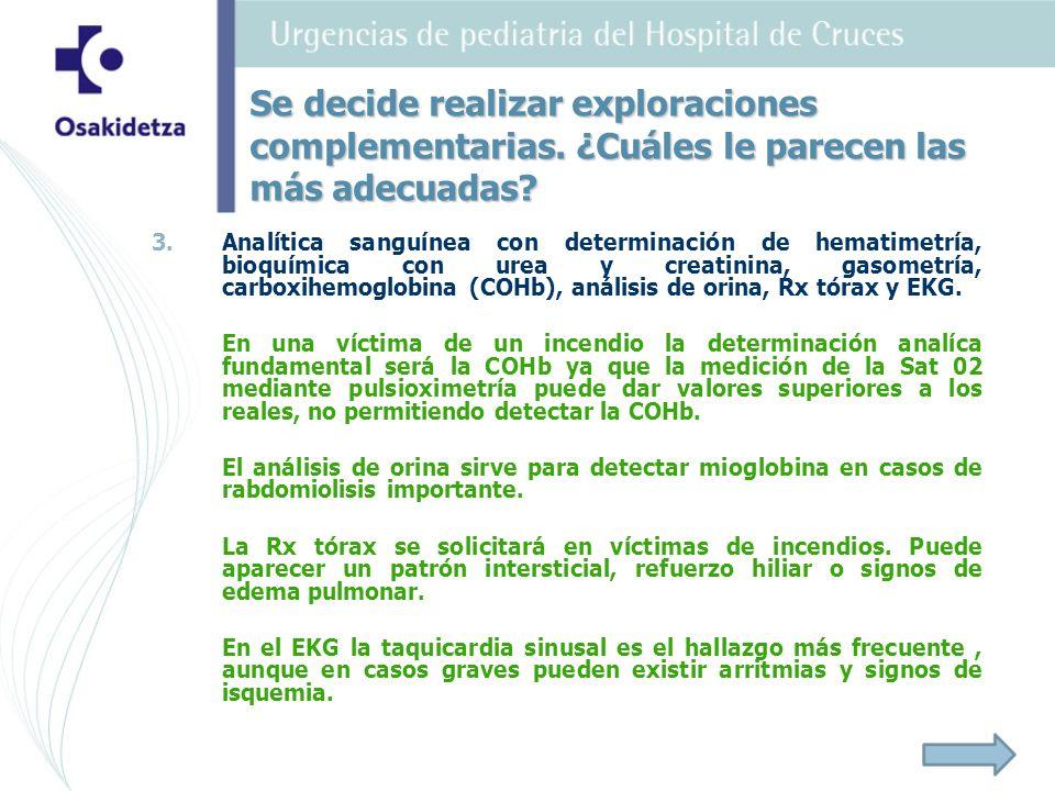3. 3.Analítica sanguínea con determinación de hematimetría, bioquímica con urea y creatinina, gasometría, carboxihemoglobina (COHb), análisis de orina