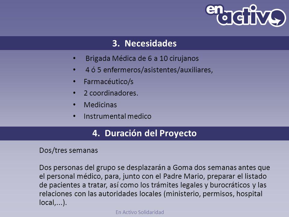 3. Necesidades Brigada Médica de 6 a 10 cirujanos 4 ó 5 enfermeros/asistentes/auxiliares, Farmacéutico/s 2 coordinadores. Medicinas Instrumental medic