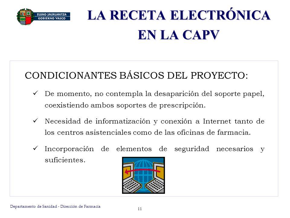 Departamento de Sanidad - Dirección de Farmacia 11 LA RECETA ELECTRÓNICA EN LA CAPV CONDICIONANTES BÁSICOS DEL PROYECTO: De momento, no contempla la d