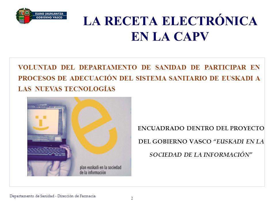 Departamento de Sanidad - Dirección de Farmacia 2 LA RECETA ELECTRÓNICA EN LA CAPV VOLUNTAD DEL DEPARTAMENTO DE SANIDAD DE PARTICIPAR EN PROCESOS DE A