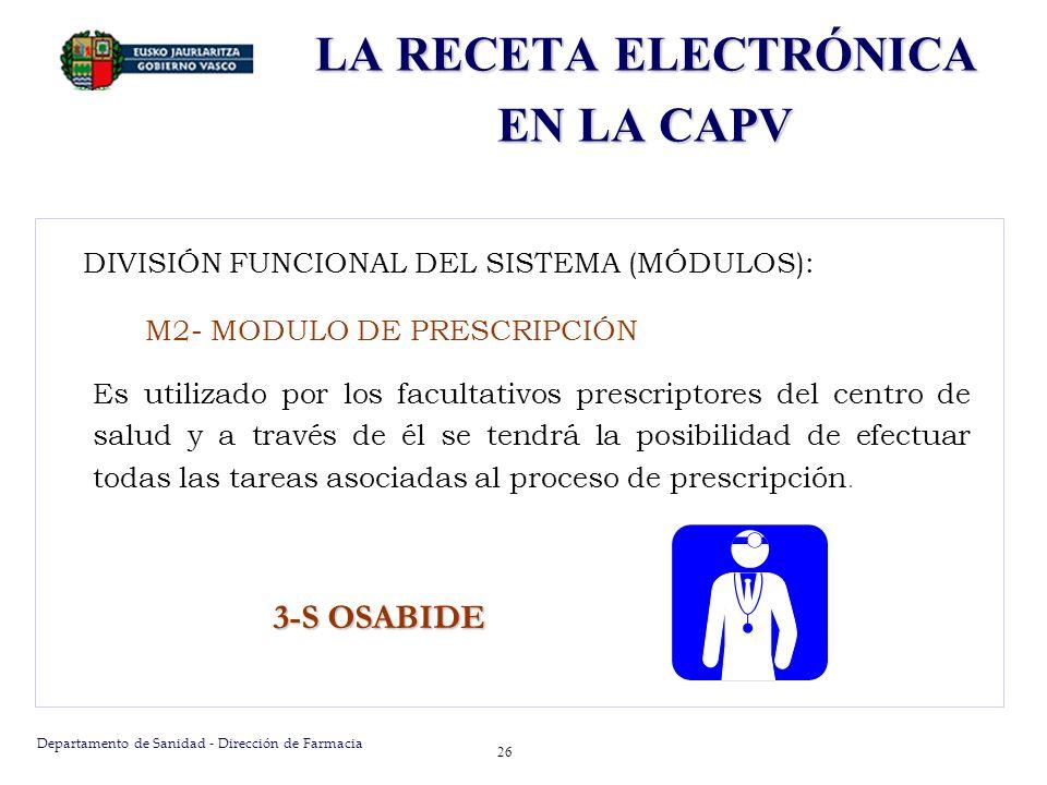 Departamento de Sanidad - Dirección de Farmacia 27 DIVISIÓN FUNCIONAL DEL SISTEMA (MÓDULOS): M2- MODULO DE PRESCRIPCIÓN Base de datos Central Solicitud de prescripción Validación de Prescripción Facultativo Prescriptor RECETA IMPRESA Prescripciónrealizada GeneracióndeNP Facultativo Prescriptor LA RECETA ELECTRÓNICA EN LA CAPV
