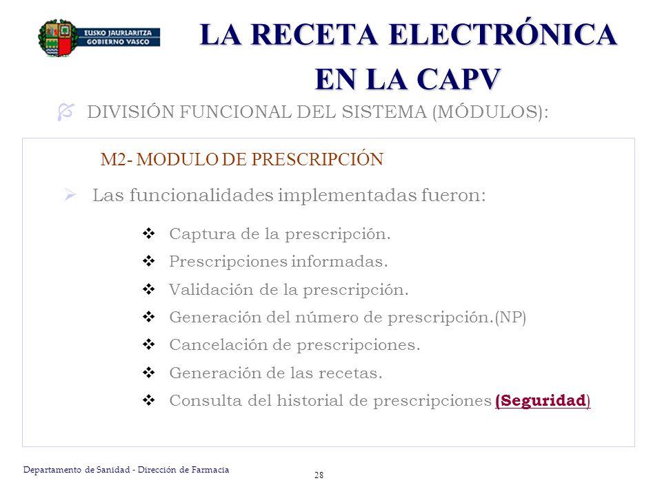 Departamento de Sanidad - Dirección de Farmacia 28 LA RECETA ELECTRÓNICA EN LA CAPV Las funcionalidades implementadas fueron: Captura de la prescripci