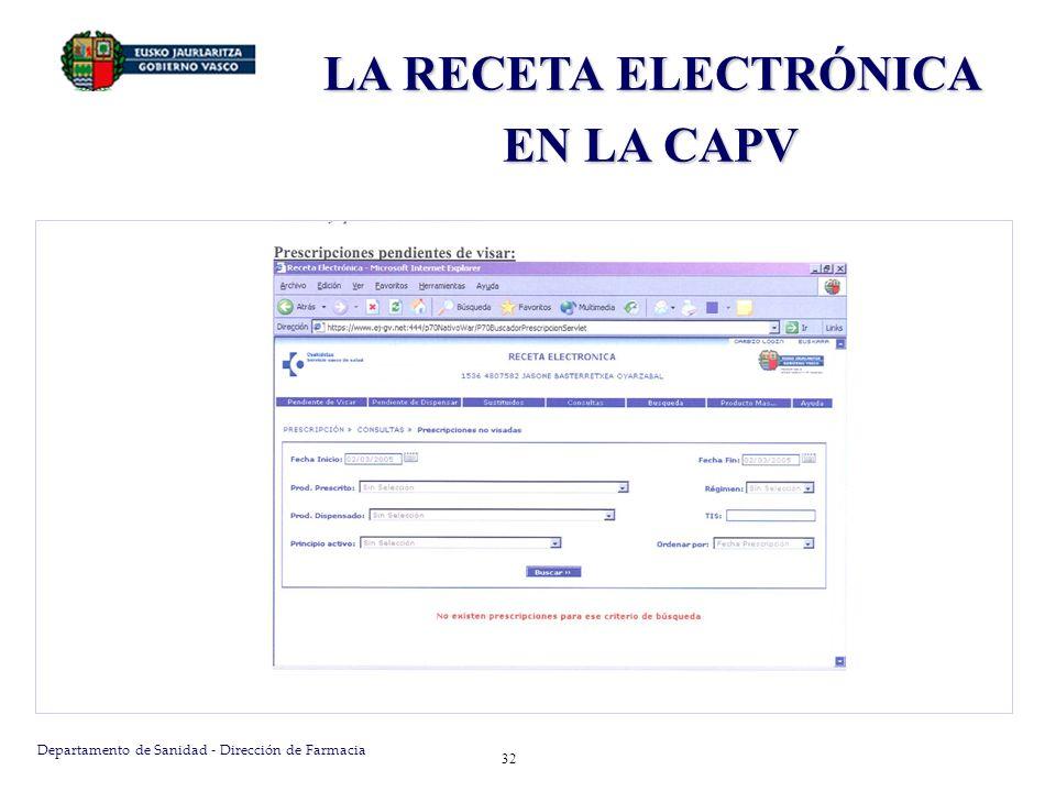 Departamento de Sanidad - Dirección de Farmacia 32 LA RECETA ELECTRÓNICA EN LA CAPV