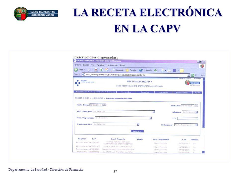 Departamento de Sanidad - Dirección de Farmacia 38 LA RECETA ELECTRÓNICA EN LA CAPV