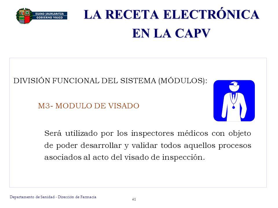 Departamento de Sanidad - Dirección de Farmacia 41 DIVISIÓN FUNCIONAL DEL SISTEMA (MÓDULOS): M3- MODULO DE VISADO Será utilizado por los inspectores m