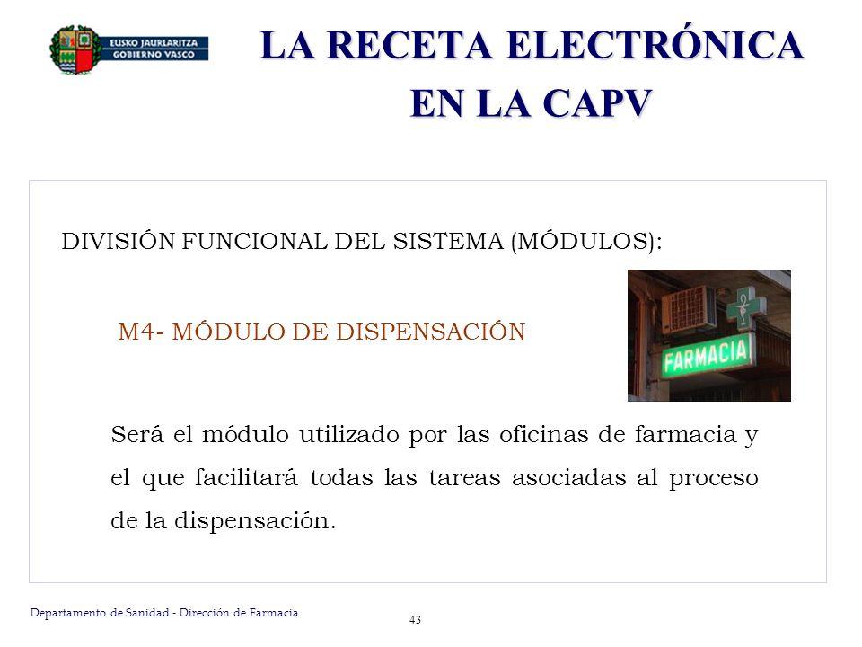 Departamento de Sanidad - Dirección de Farmacia 43 DIVISIÓN FUNCIONAL DEL SISTEMA (MÓDULOS): M4- MÓDULO DE DISPENSACIÓN Será el módulo utilizado por l