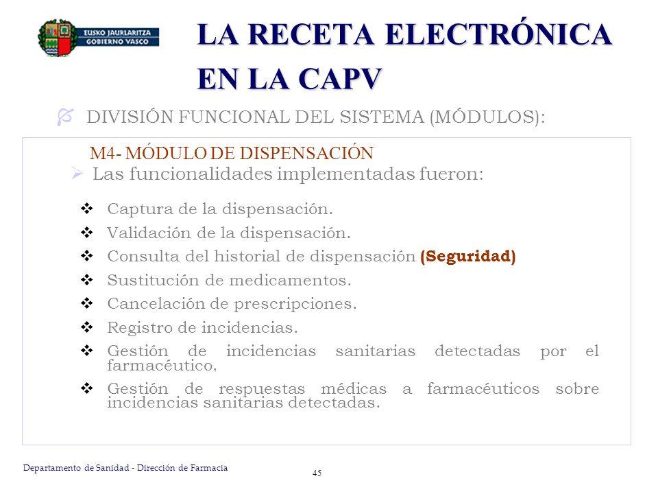 Departamento de Sanidad - Dirección de Farmacia 45 LA RECETA ELECTRÓNICA EN LA CAPV Las funcionalidades implementadas fueron: Captura de la dispensaci