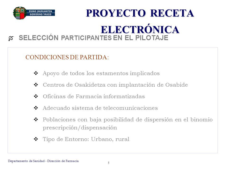 Departamento de Sanidad - Dirección de Farmacia 5 PROYECTO RECETA ELECTRÓNICA SELECCIÓN PARTICIPANTES EN EL PILOTAJE CONDICIONES DE PARTIDA: Apoyo de